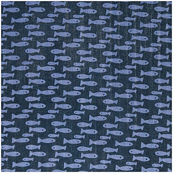 Rico Design Musselin-Druckstoff Mermaid Fische blau Hot Foil 140cm