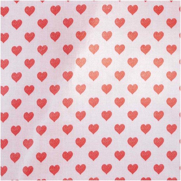 Rico Design Druckstoff Herzen rosa-rot 25x70cm beschichtet